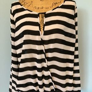 Crossover Striped Women's Sheer Shirt